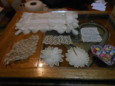 Linen table runner - embroidery & cutwork + Heart Quilt Pin Cushion + 5 More