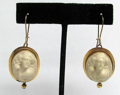 Absolutely Gorgeous Victorian Era White Lava Cameo Earrings
