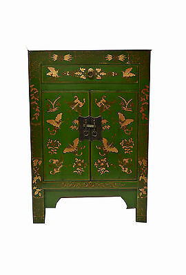 Green  Chinese Wooden Storage Side End Table w/Drawer & 2 Doors 73-17a