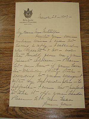 HOTEL SAVOY NY Fifth 5th & Fifty- Ninth 59th St NYC 1907 LETTER Bassett & Co SEE