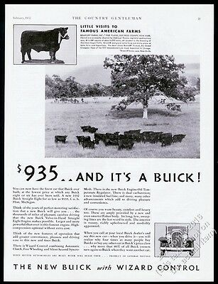 1932 Black Angus cow cattle herd photo Buick car vintage print ad