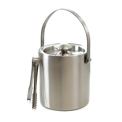 Cheftor Insulated Double Wall Stainless Steel Ice Bucket w/ Handle and Ice Tongs