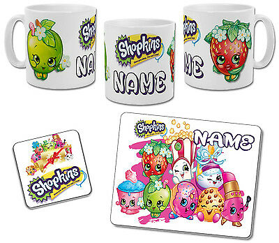 Personalised Shopkins Mug with Coaster & Placemat Options