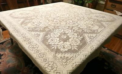 "Antique Cotton Lace  50"" SQUARE Tablecloth Daffodil Pattern Flat Hem"