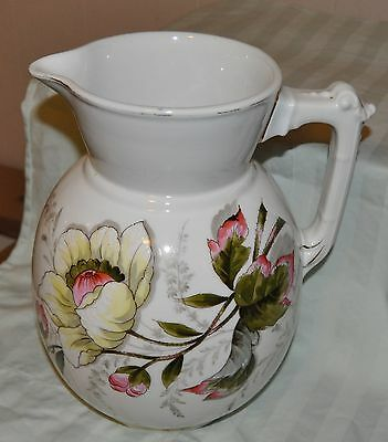Antique Ironstone Lovely PEONY TRANSFERWARE & HAND PAINTED LARGE PITCHER USA?