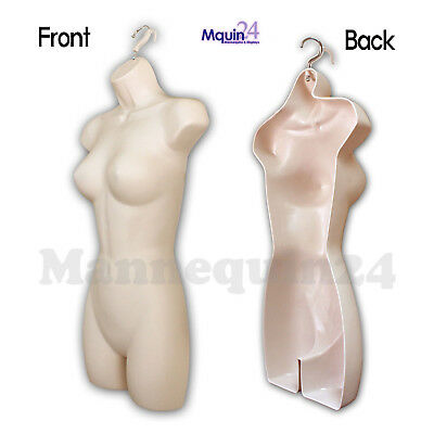 One Female Hanging Dress Mannequin Form - Flesh - Woman Torso Display