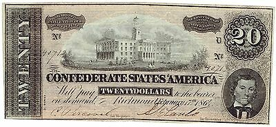 1864 Confederate $20 T-67 regular ink note #329