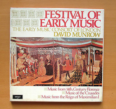 ARGO D40D 3 Festival Of Early Music Munrow Early Music Consort 3xLP Box NM/VG