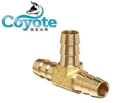 "Coyote Gear 3/8"" HOSE BARB BRASS TEE 3 WAY T Fitting Gas Fuel Water Ships Free"