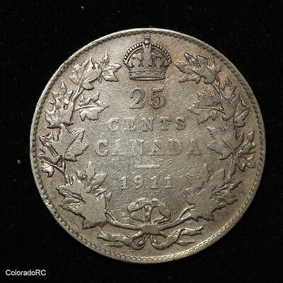 1911 Canada Silver 25 Cents - Very Good