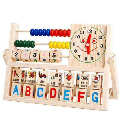 Children Learning Toy Developmental Baby Kids Versatile Flap Abacus Wooden Toys