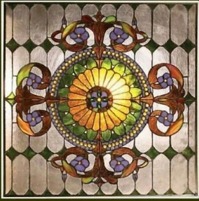 "Handcrafted Window Panel Stained Glass 25"" X 25""  Great Colors! 569 Pieces Glass"