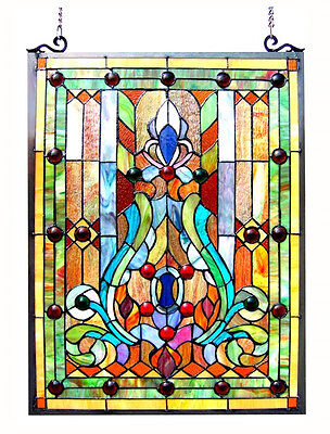 "Stained Glass Vintage Victorian Design Tiffany Style Window Panel  18"" W x 25"" T"
