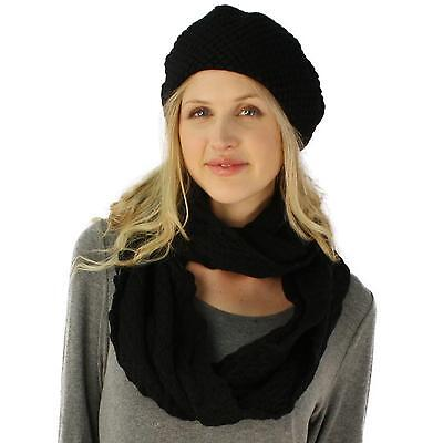 Ladies 2pc Winter Chunky Knit Beret Beanie Tam Hat Long Infinity Scarf Set Black