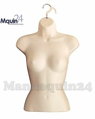Female Torso Hanging Mannequin, Flesh Hard Plastic Dress Form With Hanger