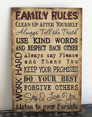 Primitive wood sign TAN FAMILY RULES Rustic Handmade Home Decor gift wall art