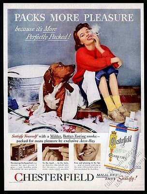 1956 Basset Hound bath photo and woman Chesterfield Cigarettes vintage print ad