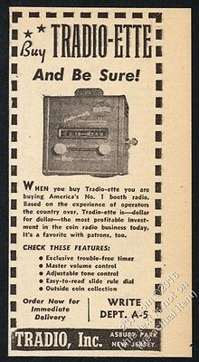 1948 Tradio-Ette coin-operated hotel radio photo vintage trade print ad