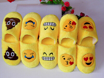 Xmas Emoji Slippers Women Men Cartoon Plush Home Cute Winter Indoor Slippers