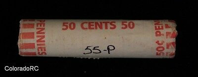 """Original Bank Wrapped Roll - 1955-P 1C Lincoln Wheat Cents """"Pennies"""""""