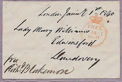 * 1840 Jan 1 - Rare O Code Crown Free Front - Made Up For Victorian Collections