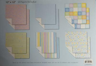 """Scrapbook Kit 12""""X12"""" - 12 Baby Patterned Papers 6 Designs"""