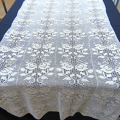 """Crochet Lace Off White Cotton Rose Table Runner Dresser Scarf 30x80"""""""