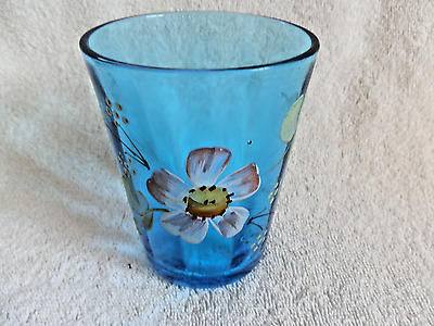 Victorian Blue Glass Tumbler With Enameled Floral Pattern Hand Painted