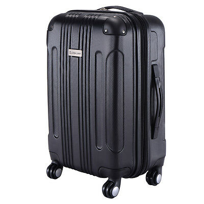 Expandable ABS Carry On Luggage Travel Bag Trolley Suitcase Black Rotating 360
