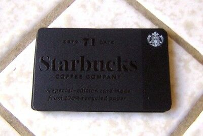 Starbucks Recycled Gift Card ~ Black Paper ~ Very Elegant ~ Limited Edition 2016