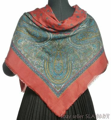 VINTAGE large red paisley wrap shawl scarf printed ethnic pattern folk costume