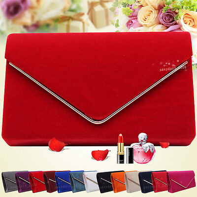 UK Wedding Women Faux Suede Evening Clutch Club Party Prom Handbag Shoulder Bag