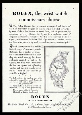 1947 Rolex Oyster Chronometer watch illustrated vintage print ad