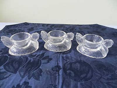 Lot of 3 Pressed Glass Sitting Chicken Eggcups