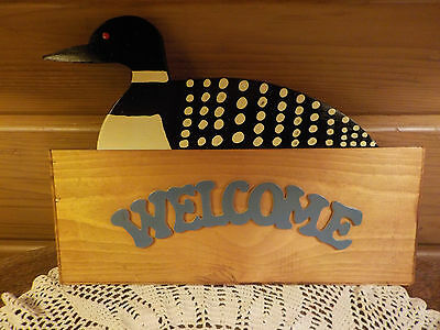 Vintage Wood Loon Welcome Sign Indoor Outdoor Hand Crafted