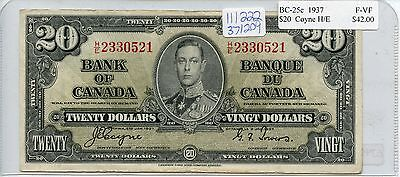 Circulated 1937 Bank of Canada $20 Note SA197