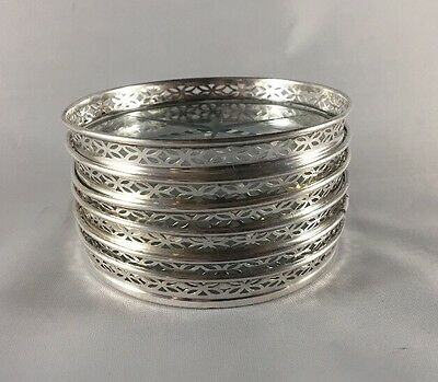 Antique Sterling Silver & Cut Glass Coasters set of 6