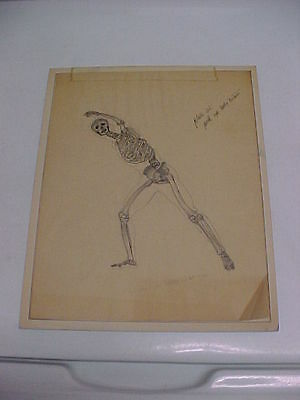 """Original Pen and Ink Drawing of Human Skeleton on Drawing Paper 8 x 10"""""""