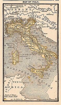 1888 Antique ITALY Map of Italy RARE MINIATURE Gallery Wall Art  #3685
