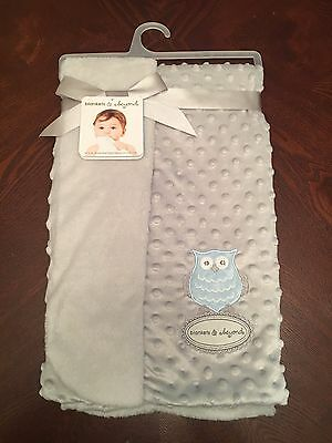 Blankets & Beyond Gray Blue Owl Security Blanket Lovey Baby Boy Layette Nwt New