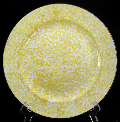 Stangl Town & Country Yellow Dinner Plate Sponge Design White Worn Outisde Edge