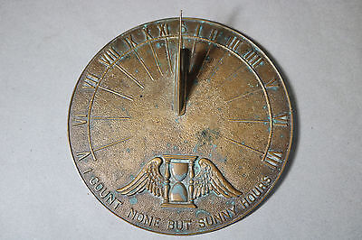 """OLD VINTAGE SOLID BRONZE GARDEN SUNDIAL w/ WINGS OF TIME 9.75"""" NICELY CAST"""