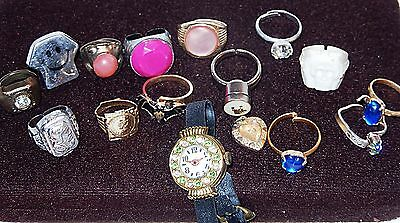 16 Vintage Gumball Machine Kid's Rings Mostly Metal  & A Few Plastic+ Toy Watch