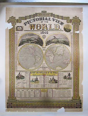 Original PICTORIAL VIEW MAP OF WORLD - 1848 - Poster - Linen Backed -  Rare