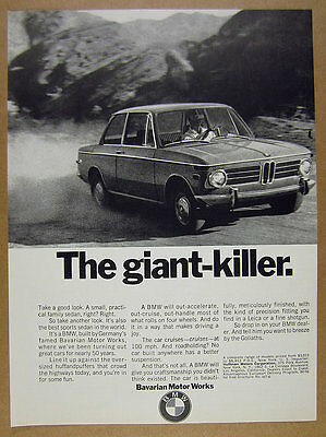 1970 BMW 2002 car photo 'The giant-killer' vintage print Ad