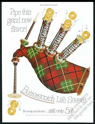 1952 Life Savers Butter Scotch candy bagpipes art vintage print ad