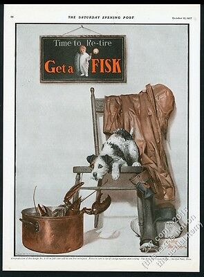 1927 Fisk tires lobster and terrier dog art Leslie Thresher art vintage print ad