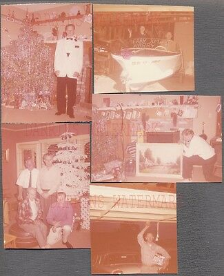 Lot of 5 Vintage Photos Family w/ Christmas Tree Art Painting Motor Boat 752611