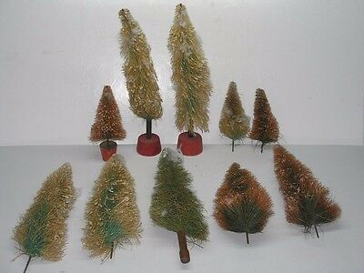 10 Antique German Made Christmas Village Brush Trees