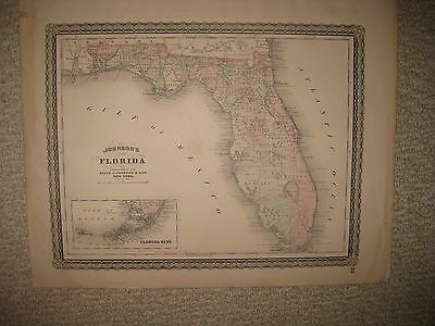 Superb Antique 1864 Florida Johnson Handcolored Map Kets Native Indian Forts Nr